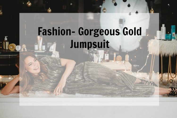 Fashion- Gorgeous Gold Jumpsuit-New Year's Eve Outfit